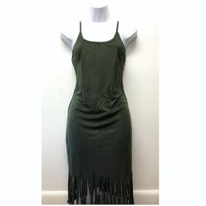 Say What | Green Suede Strappy Dress Fringed Edges